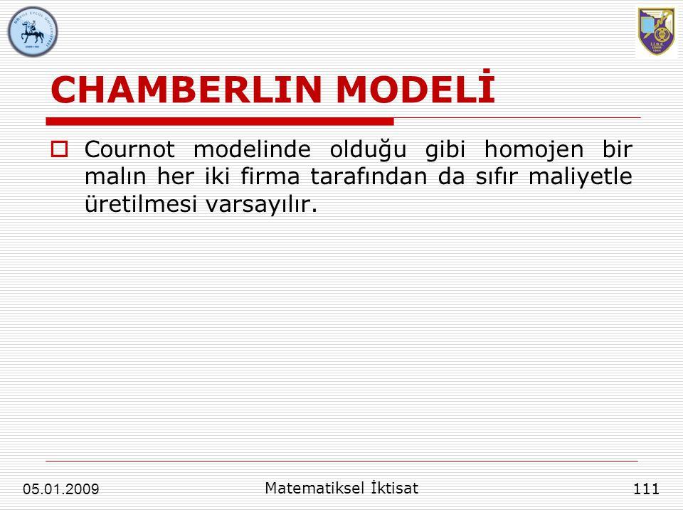 CHAMBERLIN MODELİ  Cournot modelinde olduğu gibi homojen bir malın her iki firma tarafından da sıfır maliyetle üretilmesi varsayılır. 111 Matematikse