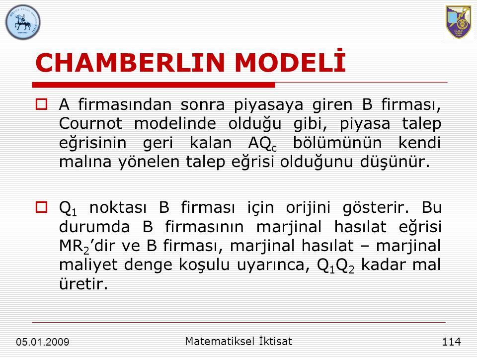 CHAMBERLIN MODELİ  A firmasından sonra piyasaya giren B firması, Cournot modelinde olduğu gibi, piyasa talep eğrisinin geri kalan AQ c bölümünün kend