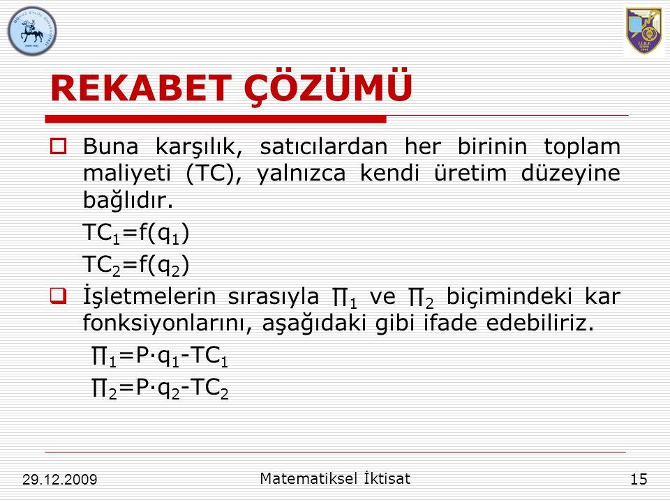 REKABET ÇÖZÜMÜ  Buna karşılık, satıcılardan her birinin toplam maliyeti (TC), yalnızca kendi üretim düzeyine bağlıdır. TC 1 =f(q 1 ) TC 2 =f(q 2 ) 