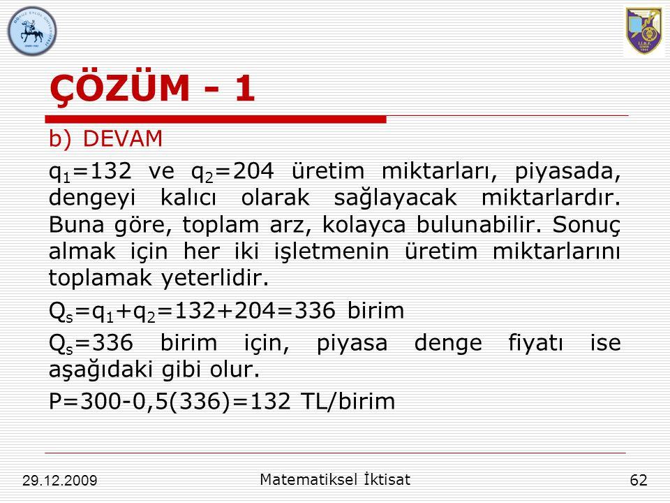ÇÖZÜM - 1 b)DEVAM q 1 =132 ve q 2 =204 üretim miktarları, piyasada, dengeyi kalıcı olarak sağlayacak miktarlardır. Buna göre, toplam arz, kolayca bulu