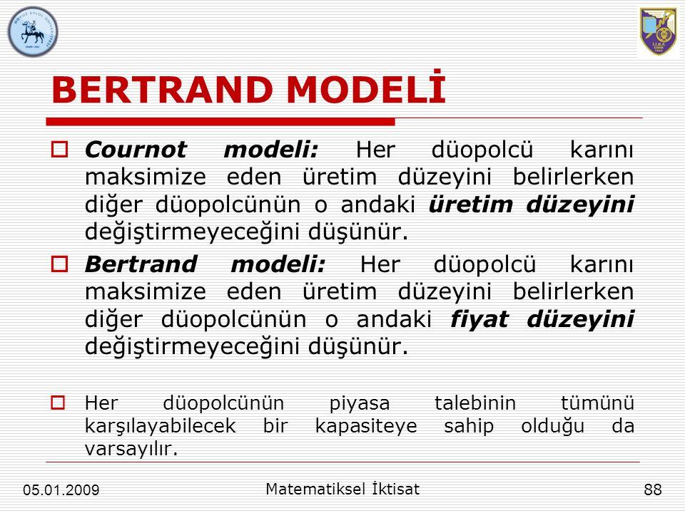 BERTRAND MODELİ  Cournot modeli: Her düopolcü karını maksimize eden üretim düzeyini belirlerken diğer düopolcünün o andaki üretim düzeyini değiştirme