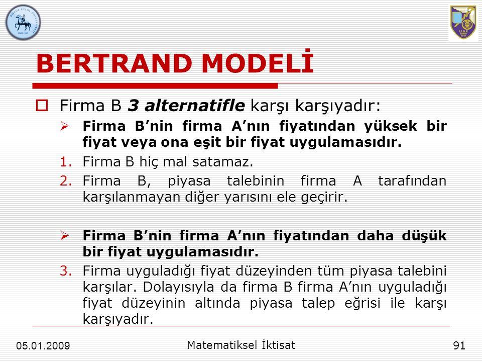 BERTRAND MODELİ  Firma B 3 alternatifle karşı karşıyadır:  Firma B'nin firma A'nın fiyatından yüksek bir fiyat veya ona eşit bir fiyat uygulamasıdır