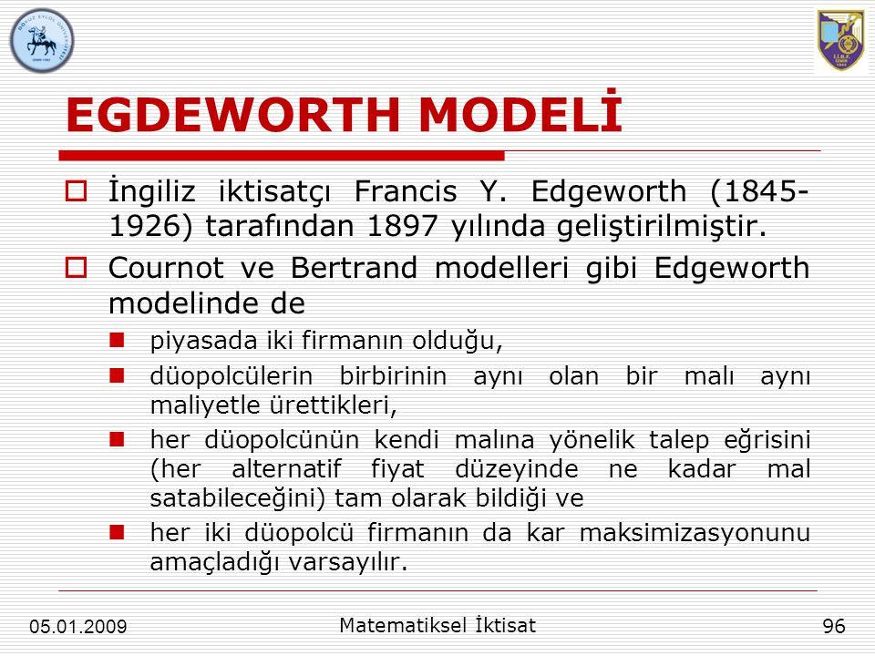 EGDEWORTH MODELİ  İngiliz iktisatçı Francis Y. Edgeworth (1845- 1926) tarafından 1897 yılında geliştirilmiştir.  Cournot ve Bertrand modelleri gibi