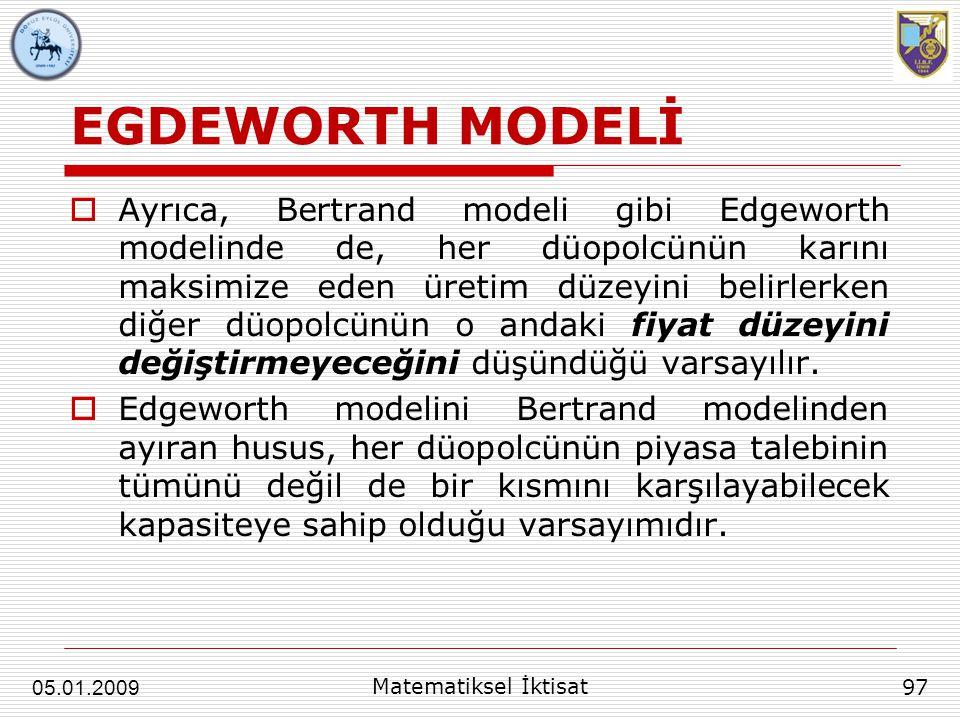 EGDEWORTH MODELİ  Ayrıca, Bertrand modeli gibi Edgeworth modelinde de, her düopolcünün karını maksimize eden üretim düzeyini belirlerken diğer düopol