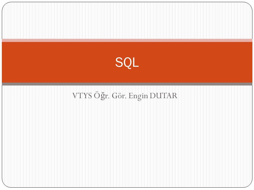 SQL - Select Komutu Verileri listelerken belli bir alandaki verilere göre sıralamak için; SELECT * FROM tablo_adi ORDER BY alan1; 12 VTYS Ö ğ r.