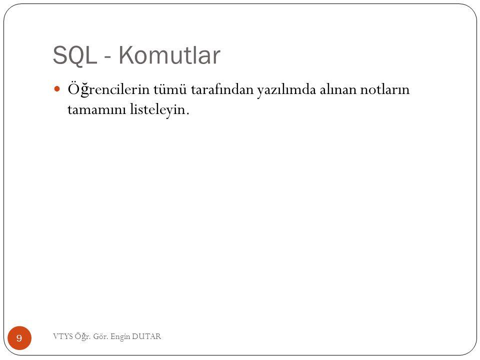 SQL - Komutlar Ö ğ rencilerin tümü tarafından yazılımda alınan notların tamamını listeleyin. 9 VTYS Ö ğ r. Gör. Engin DUTAR