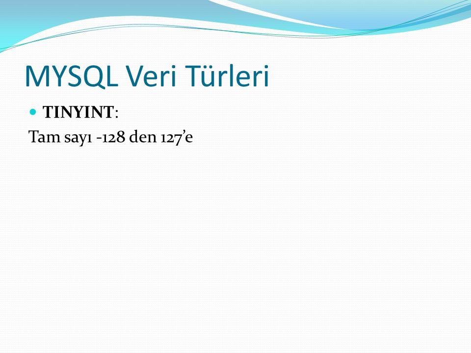 MYSQL Veri Türleri TINYINT: Tam sayı -128 den 127'e