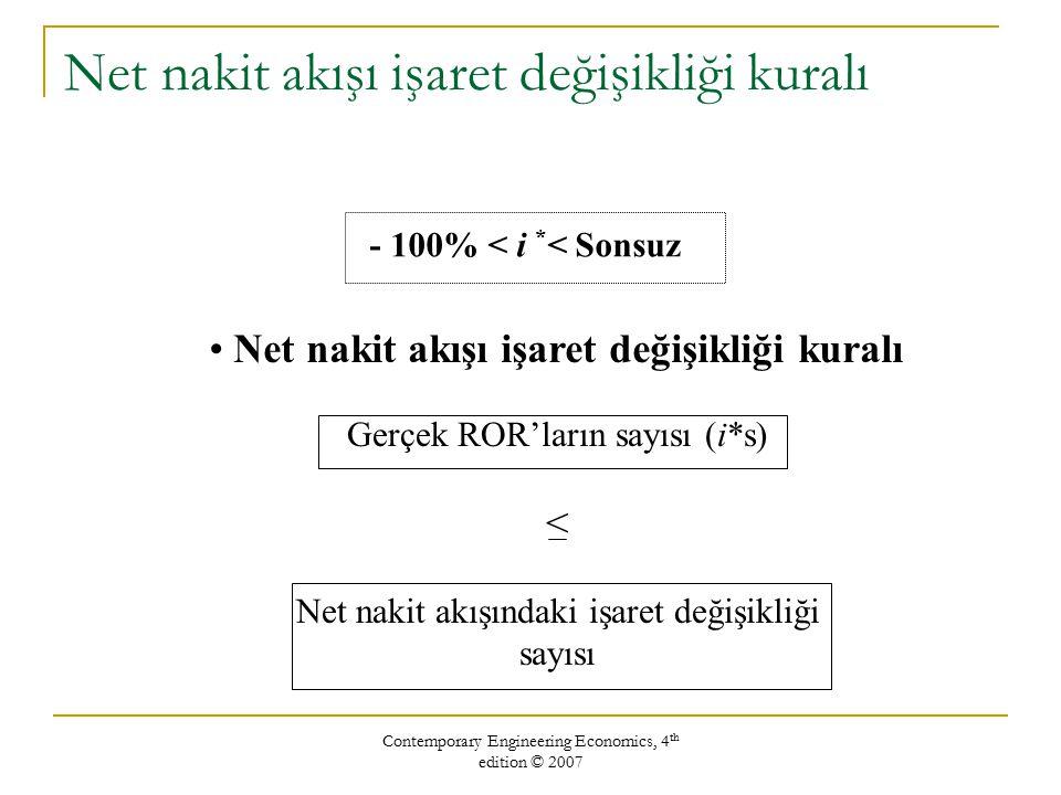 Contemporary Engineering Economics, 4 th edition © 2007 Net nakit akışı işaret değişikliği kuralı - 100% < i * < Sonsuz Net nakit akışı işaret değişikliği kuralı Gerçek ROR'ların sayısı (i*s) < Net nakit akışındaki işaret değişikliği sayısı