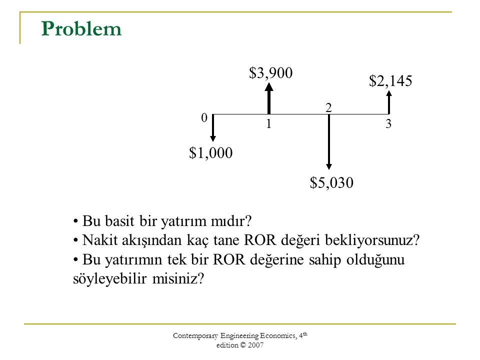 Contemporary Engineering Economics, 4 th edition © 2007 Problem $2,145 $3,900 $5,030 $1,000 0 1 2 3 Bu basit bir yatırım mıdır? Nakit akışından kaç ta