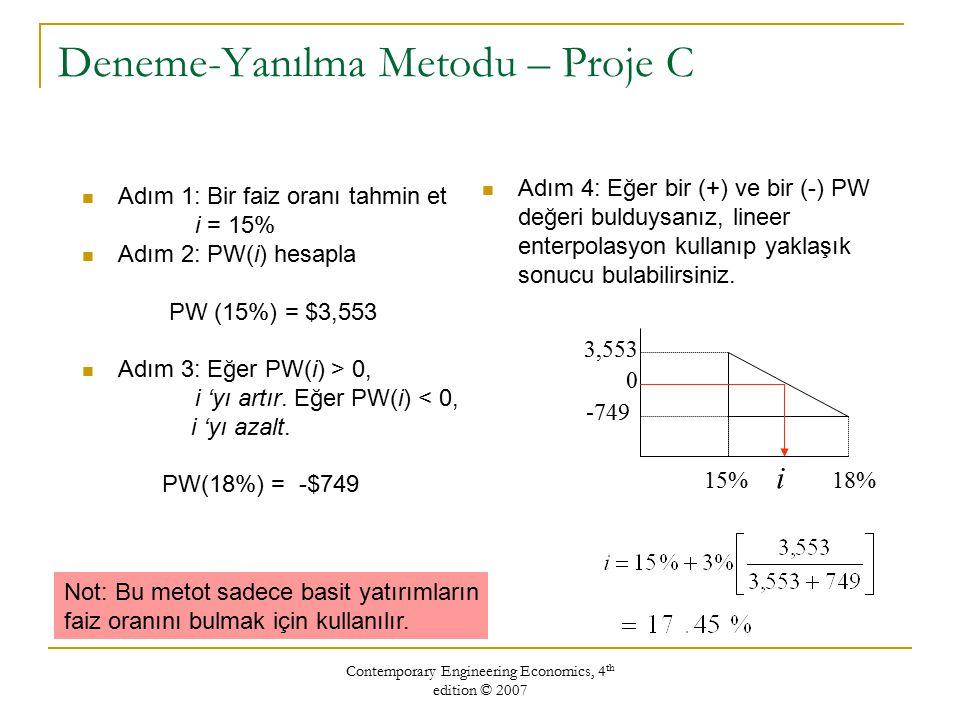 Contemporary Engineering Economics, 4 th edition © 2007 Deneme-Yanılma Metodu – Proje C Adım 1: Bir faiz oranı tahmin et i = 15% Adım 2: PW(i) hesapla PW (15%) = $3,553 Adım 3: Eğer PW(i) > 0, i 'yı artır.