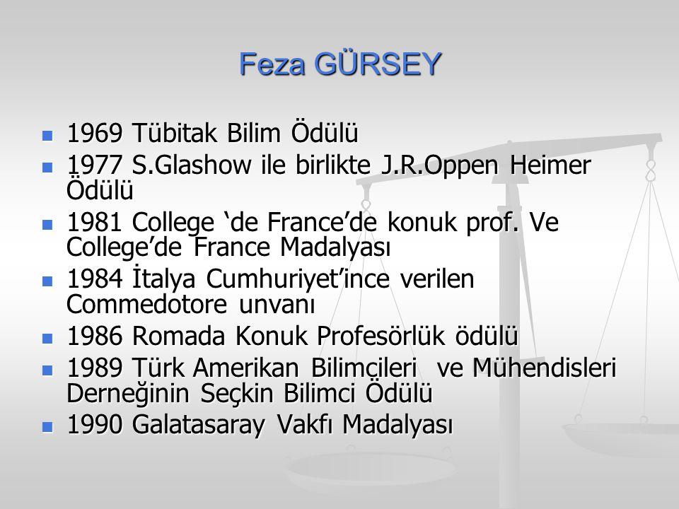 Feza GÜRSEY 1969 Tübitak Bilim Ödülü 1969 Tübitak Bilim Ödülü 1977 S.Glashow ile birlikte J.R.Oppen Heimer Ödülü 1977 S.Glashow ile birlikte J.R.Oppen Heimer Ödülü 1981 College 'de France'de konuk prof.