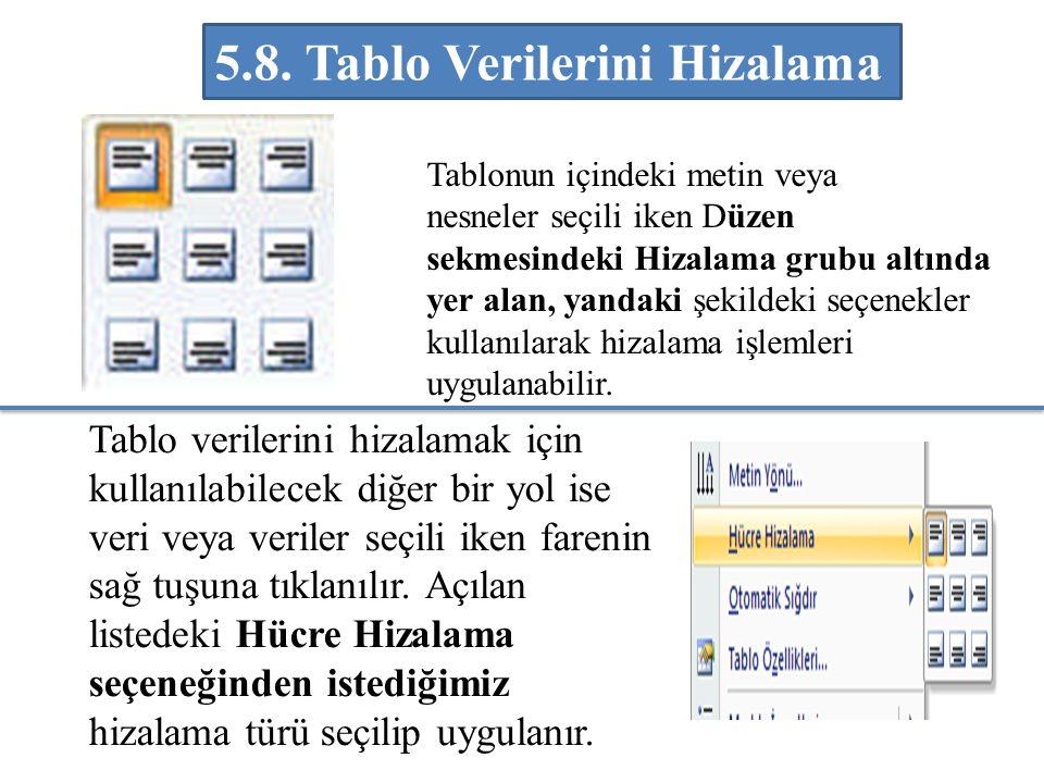 Tablonun içindeki metin veya nesneler seçili iken Düzen sekmesindeki Hizalama grubu altında yer alan, yandaki şekildeki seçenekler kullanılarak hizala