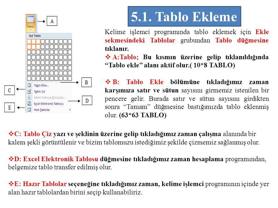 Kelime işlemci programında tablo eklemek için Ekle sekmesindeki Tablolar grubundan Tablo düğmesine tıklanır.  A:Tablo; Bu kısmın üzerine gelip tıklan