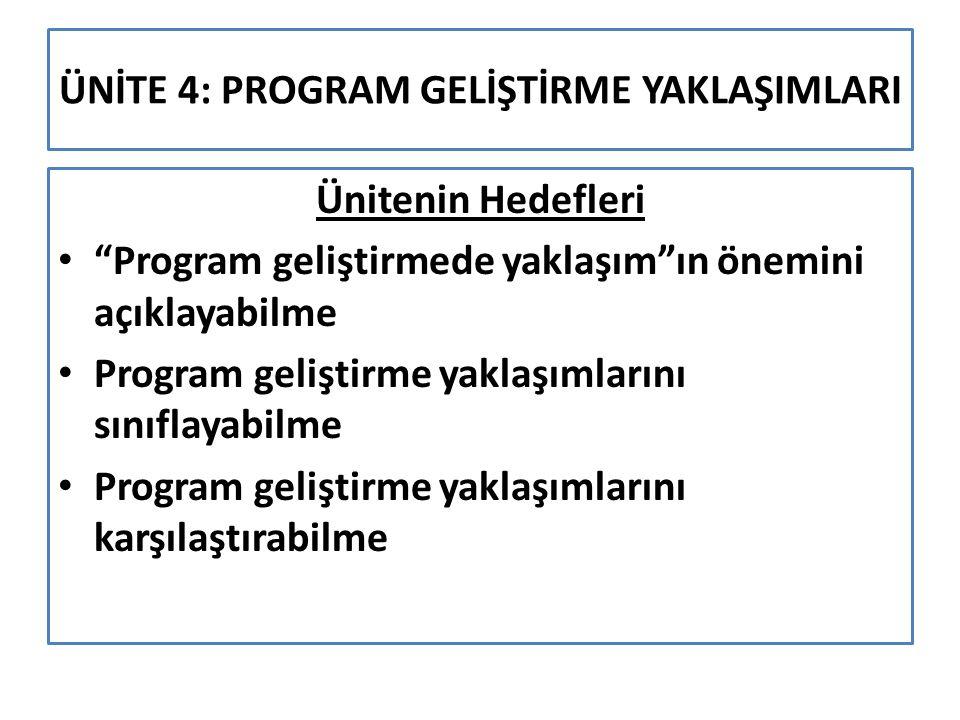 """ÜNİTE 4: PROGRAM GELİŞTİRME YAKLAŞIMLARI Ünitenin Hedefleri """"Program geliştirmede yaklaşım""""ın önemini açıklayabilme Program geliştirme yaklaşımlarını"""