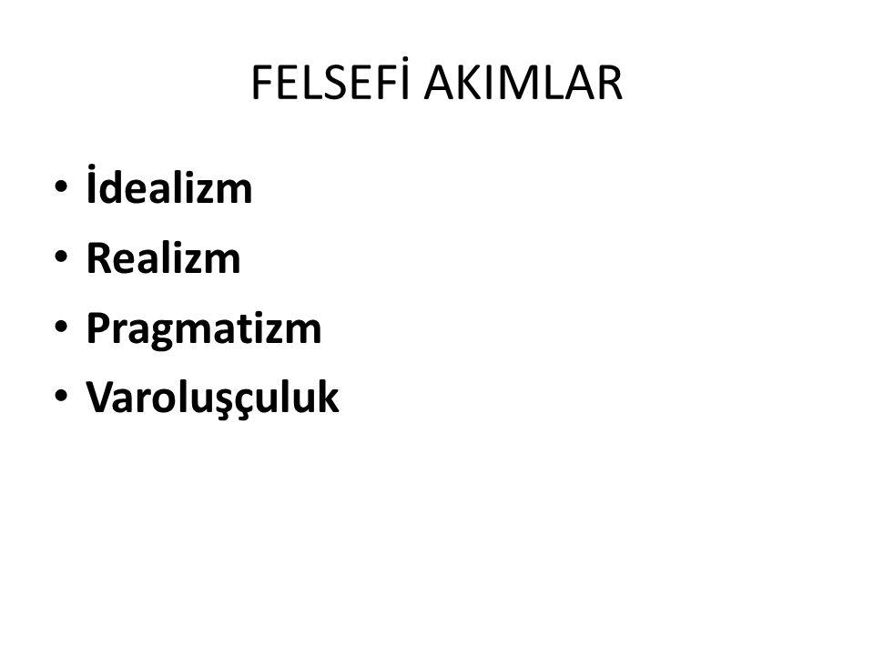 FELSEFİ AKIMLAR İdealizm Realizm Pragmatizm Varoluşçuluk