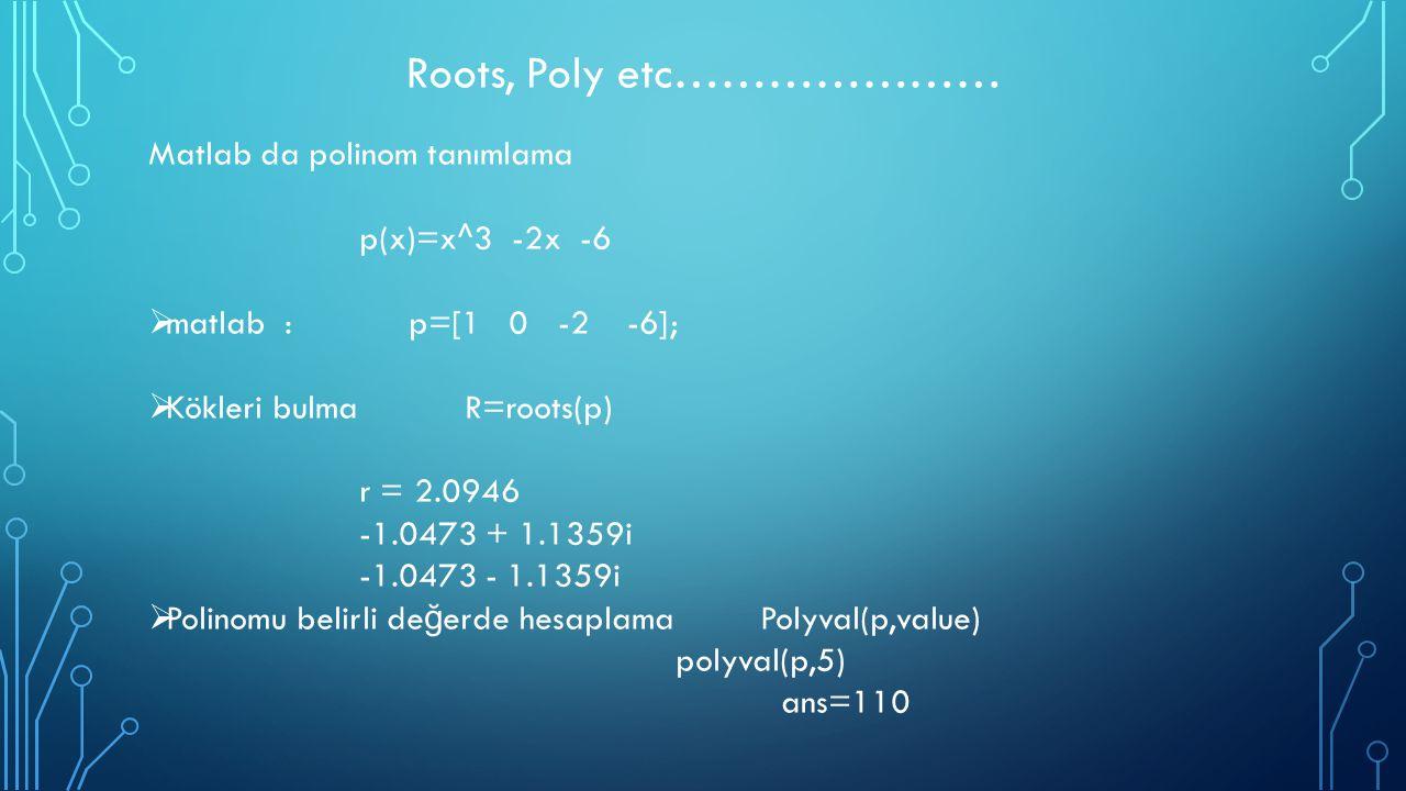 Roots, Poly etc………………… Matlab da polinom tanımlama p(x)=x^3 -2x -6  matlab : p=[1 0 -2 -6];  Kökleri bulma R=roots(p) r = 2.0946 -1.0473 + 1.1359i -
