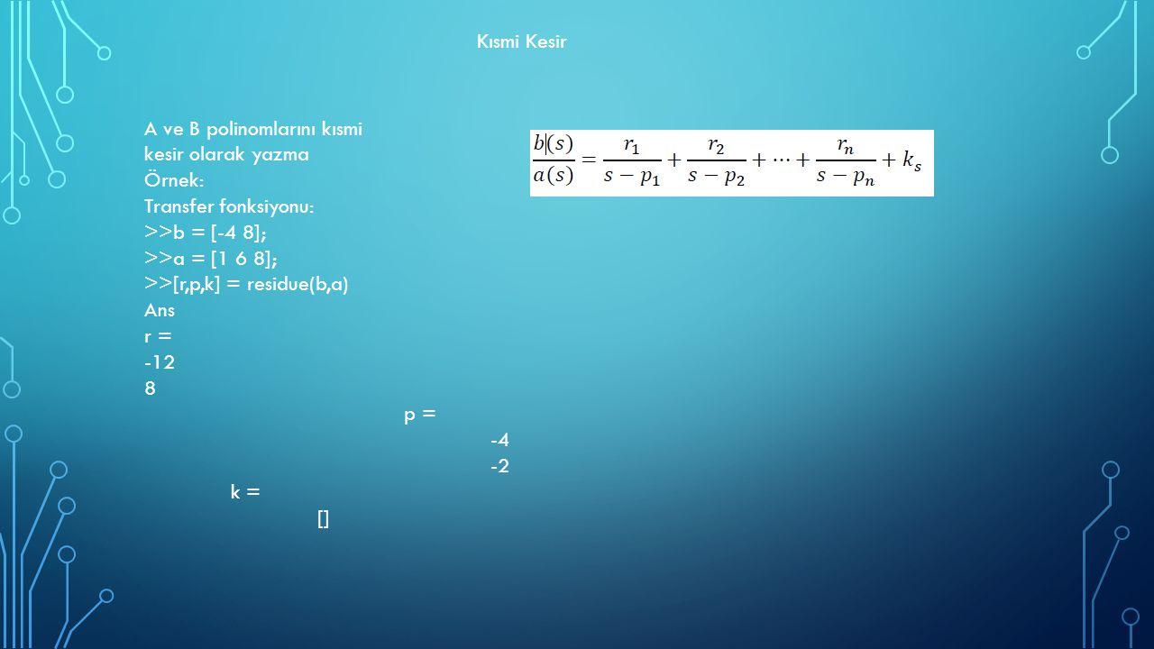 Kısmi Kesir A ve B polinomlarını kısmi kesir olarak yazma Örnek: Transfer fonksiyonu: >>b = [-4 8]; >>a = [1 6 8]; >>[r,p,k] = residue(b,a) Ans r = -1