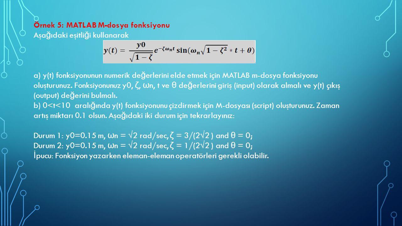 Örnek 5: MATLAB M-dosya fonksiyonu Aşa ğ ıdaki eşitli ğ i kullanarak a) y(t) fonksiyonunun numerik de ğ erlerini elde etmek için MATLAB m-dosya fonksi