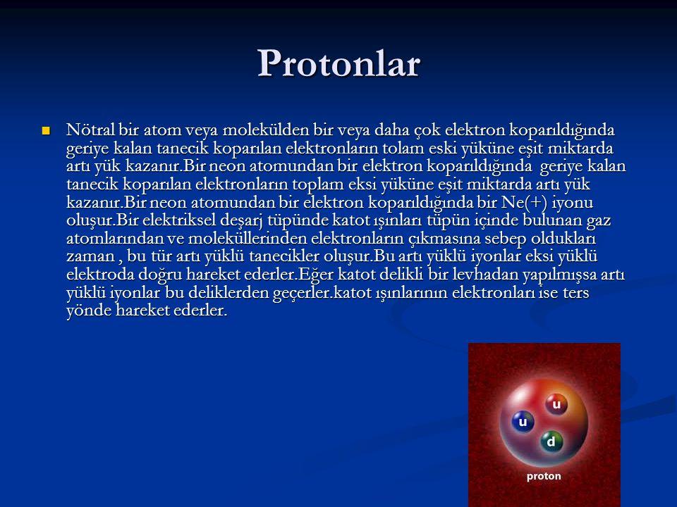 Notronlar Atomlar elektrik yükü bakımından nötral olduklarından bir atomun içerdiği proton sayısı elektron sayısına eşit olmalıdır.Atomun toplam kütlesini açıklayabilmek için 1920 de Ernest Rutherford atomda yüksüz bir taneciğin var olduğunu savundu.Bu tanecik yüksüz olduğundan onu incelemek ve tanımlamak zordu.Fakat 1932 de James Chadwick nötronun varlığını kanıtlayan çalışmalarını sonuçlarını yayınladı.Chadwick, nötronların oluştuğu bazı nükleer tepkimelerin verilerinden nötronun kütlesini hesaplayabildi.Bu tepkimelerde kullanılan ve oluşan bütün taneciklerin kütlelerini ve enerjilerini göz önüne alarak Chadwick nötronun kütlesini hesapladı.Bu kütle protonun kütlesinden biraz daha büyüktü.