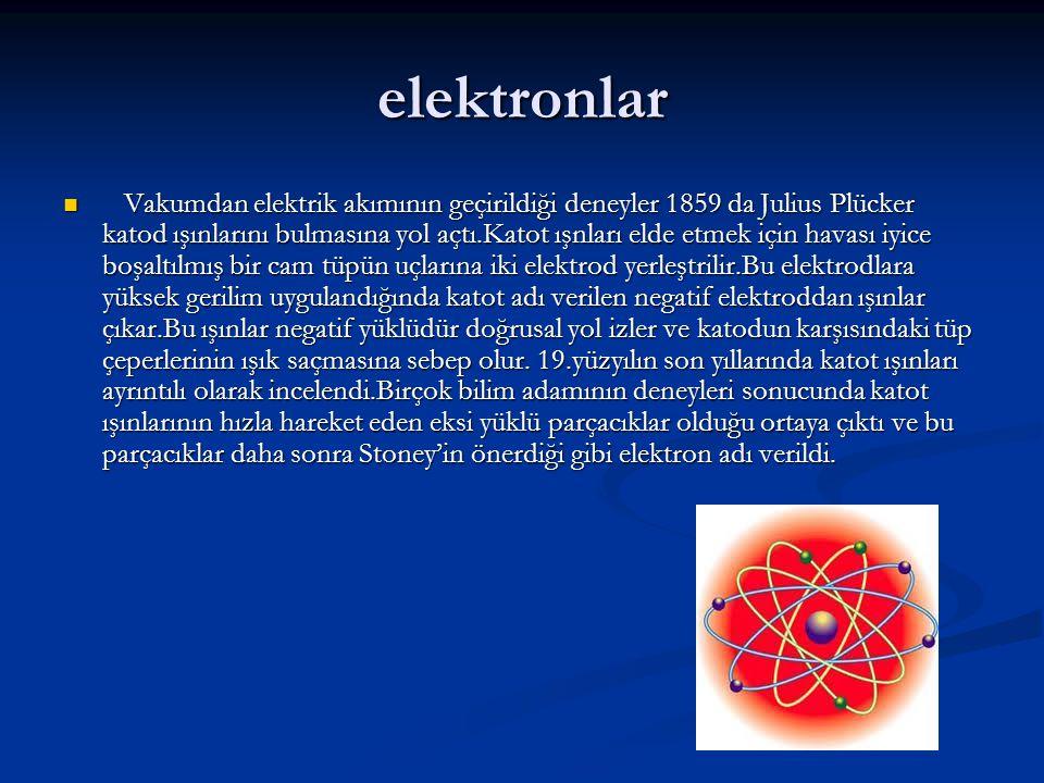 elektronlar Vakumdan elektrik akımının geçirildiği deneyler 1859 da Julius Plücker katod ışınlarını bulmasına yol açtı.Katot ışnları elde etmek için havası iyice boşaltılmış bir cam tüpün uçlarına iki elektrod yerleştrilir.Bu elektrodlara yüksek gerilim uygulandığında katot adı verilen negatif elektroddan ışınlar çıkar.Bu ışınlar negatif yüklüdür doğrusal yol izler ve katodun karşısındaki tüp çeperlerinin ışık saçmasına sebep olur.
