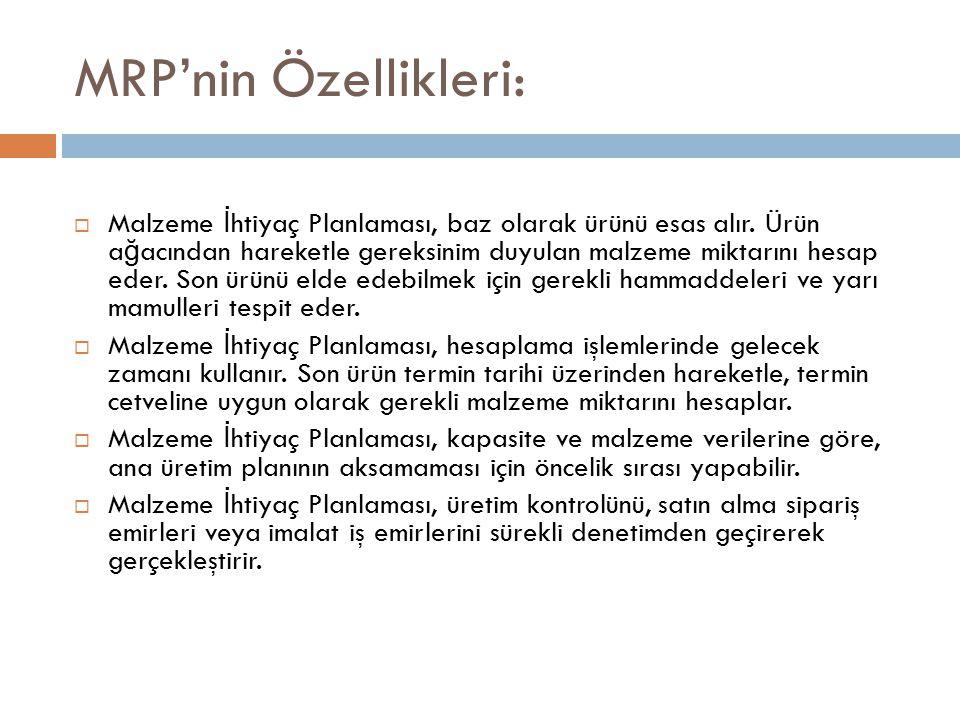 MRP'nin Özellikleri:  Malzeme İ htiyaç Planlaması, baz olarak ürünü esas alır.