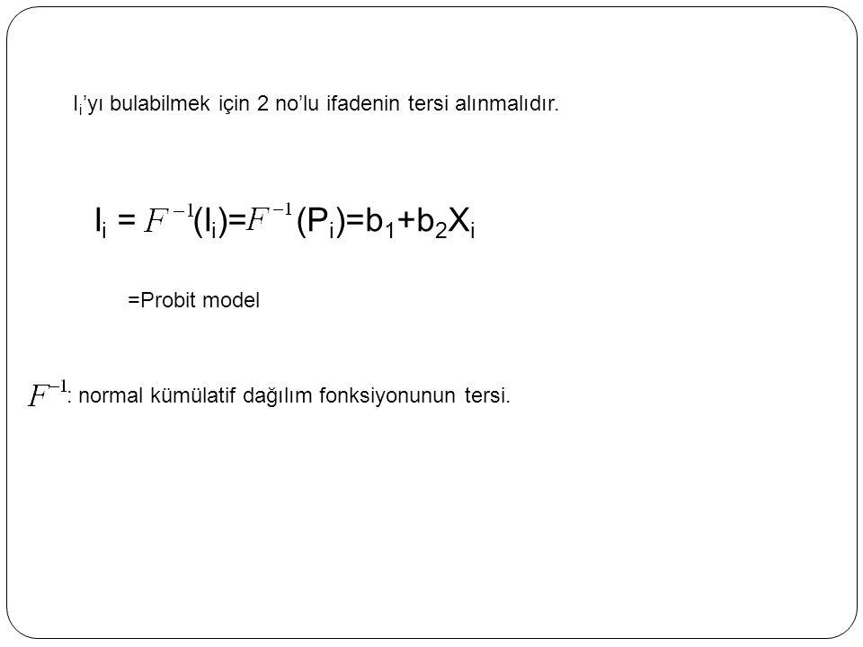 I i 'yı bulabilmek için 2 no'lu ifadenin tersi alınmalıdır. I i = (I i )= (P i )=b 1 +b 2 X i =Probit model : normal kümülatif dağılım fonksiyonunun t
