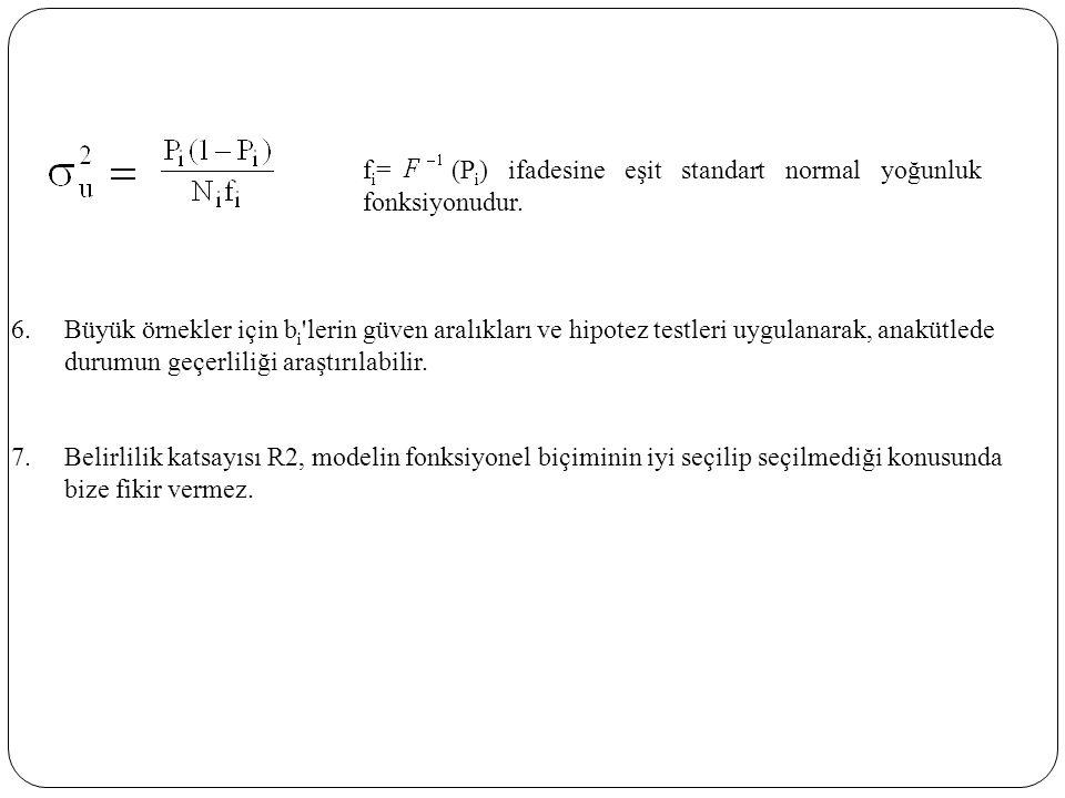 f i = (P i ) ifadesine eşit standart normal yoğunluk fonksiyonudur. 6.Büyük örnekler için b i 'lerin güven aralıkları ve hipotez testleri uygulanarak,