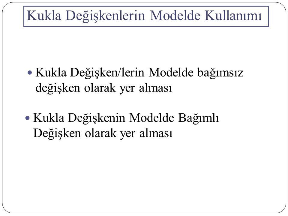 Bağımsız Kukla Değişkenler Bir kukla değişkenli modeller (Varyans Analiz Modelleri) Kukla değişkenlerin ve Sayısal değişkenlerin Birlikte yer aldığı Modeller (Kovaryans Analizi Modeller) Kukla değişkenlerin karşılıklı olarak birbirini etkilemeleri Mevsim dalgalanmalarının ölçülmesinde kukla değişkenler Parçalı Doğrusal Regresyon