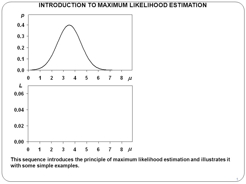 1 INTRODUCTION TO MAXIMUM LIKELIHOOD ESTIMATION This sequence introduces the principle of maximum likelihood estimation and illustrates it with some s
