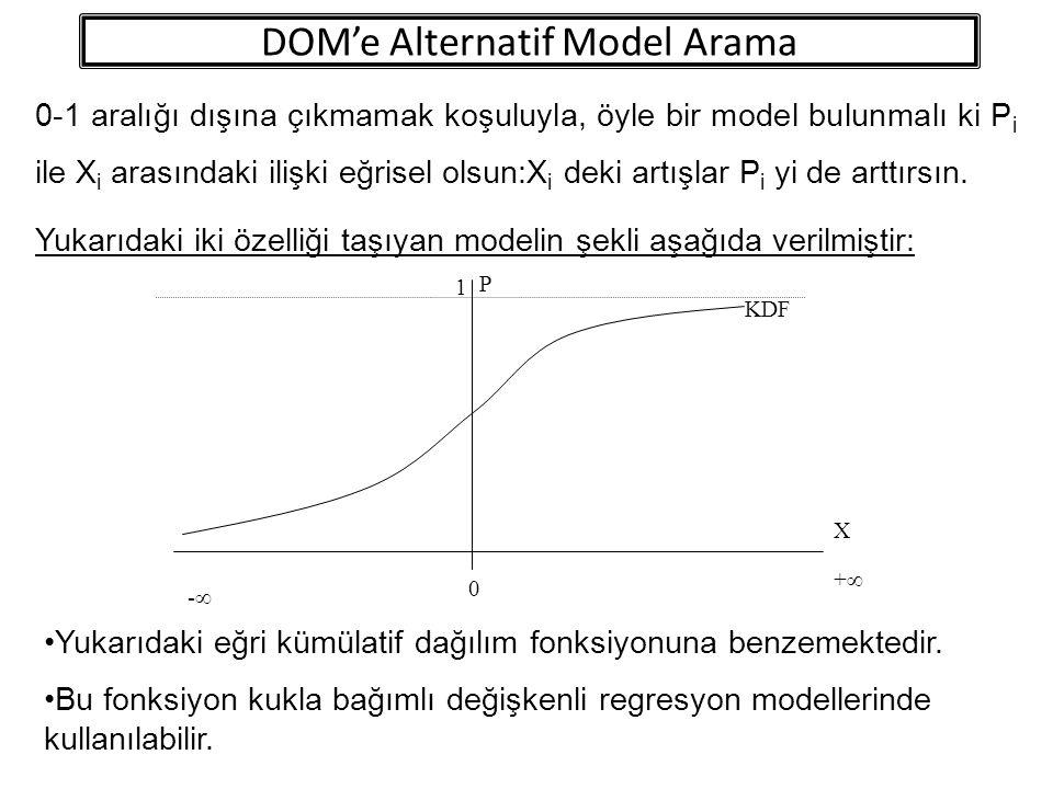 0-1 aralığı dışına çıkmamak koşuluyla, öyle bir model bulunmalı ki P i ile X i arasındaki ilişki eğrisel olsun:X i deki artışlar P i yi de arttırsın.
