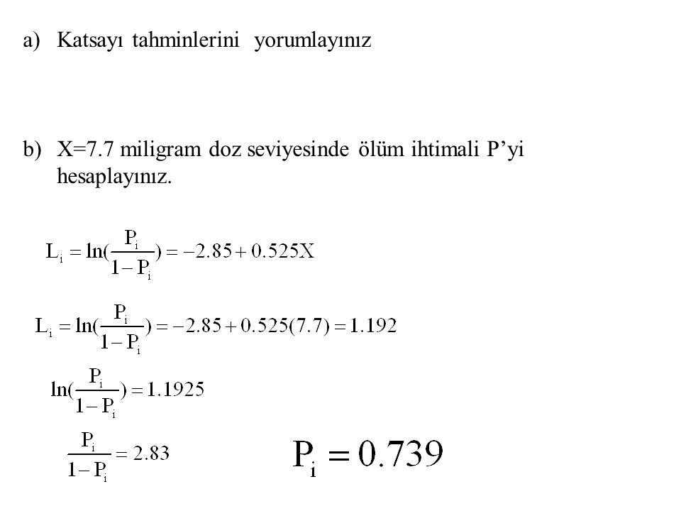 a)Katsayı tahminlerini yorumlayınız b)X=7.7 miligram doz seviyesinde ölüm ihtimali P'yi hesaplayınız.