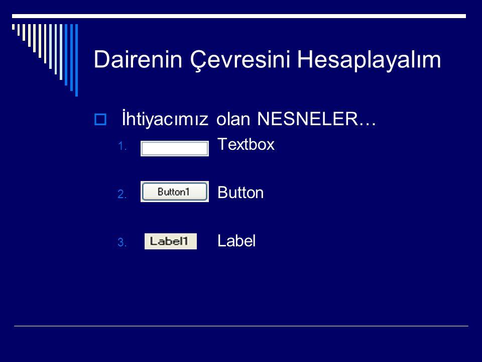 Dairenin Çevresini Hesaplayalım  İhtiyacımız olan NESNELER… 1. Textbox 2. Button 3. Label