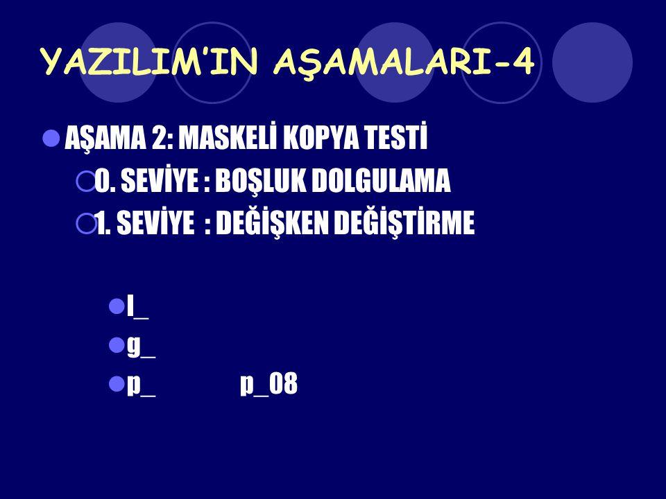 YAZILIM'IN AŞAMALARI-4 AŞAMA 2: MASKELİ KOPYA TESTİ  0. SEVİYE : BOŞLUK DOLGULAMA  1. SEVİYE : DEĞİŞKEN DEĞİŞTİRME l_ g_ p_p_08