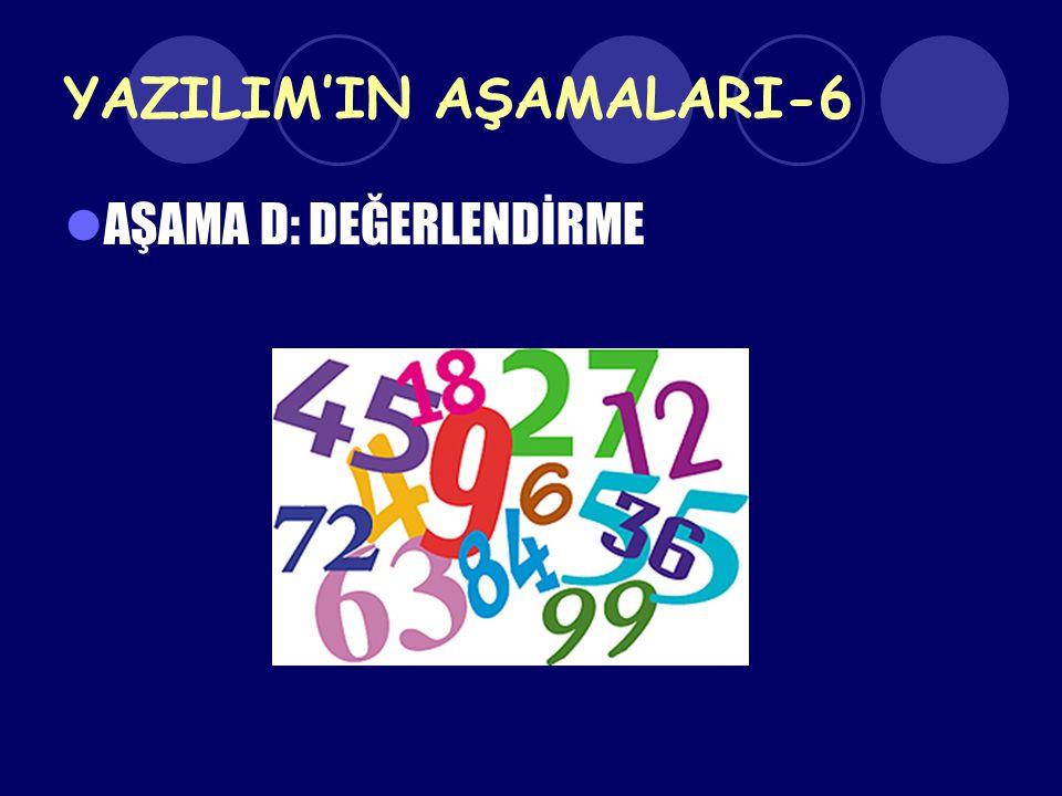 YAZILIM'IN AŞAMALARI-6 AŞAMA D: DEĞERLENDİRME