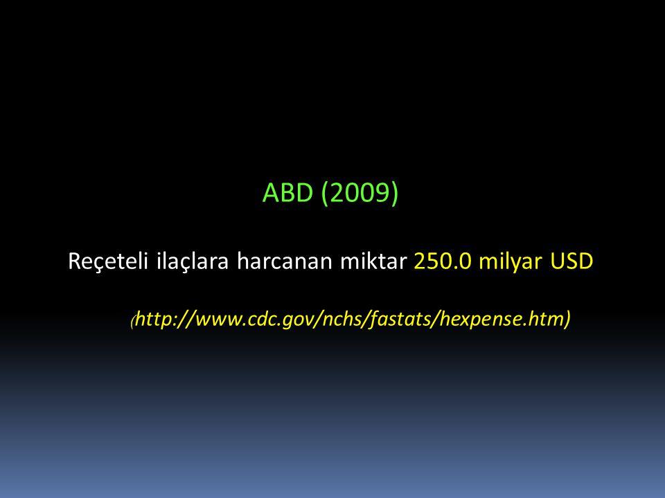ABD (2009) Reçeteli ilaçlara harcanan miktar 250.0 milyar USD ( http://www.cdc.gov/nchs/fastats/hexpense.htm)