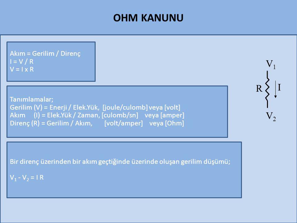 OHM KANUNU Akım = Gerilim / Direnç I = V / R V = I x R Tanımlamalar; Gerilim (V) = Enerji / Elek.Yük, [joule/culomb] veya [volt] Akım (I) = Elek.Yük /