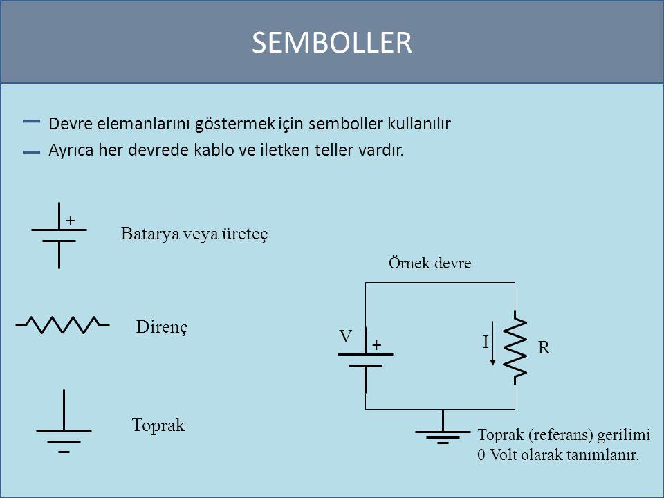 SEMBOLLER Devre elemanlarını göstermek için semboller kullanılır Ayrıca her devrede kablo ve iletken teller vardır. + Batarya veya üreteç Direnç Topra