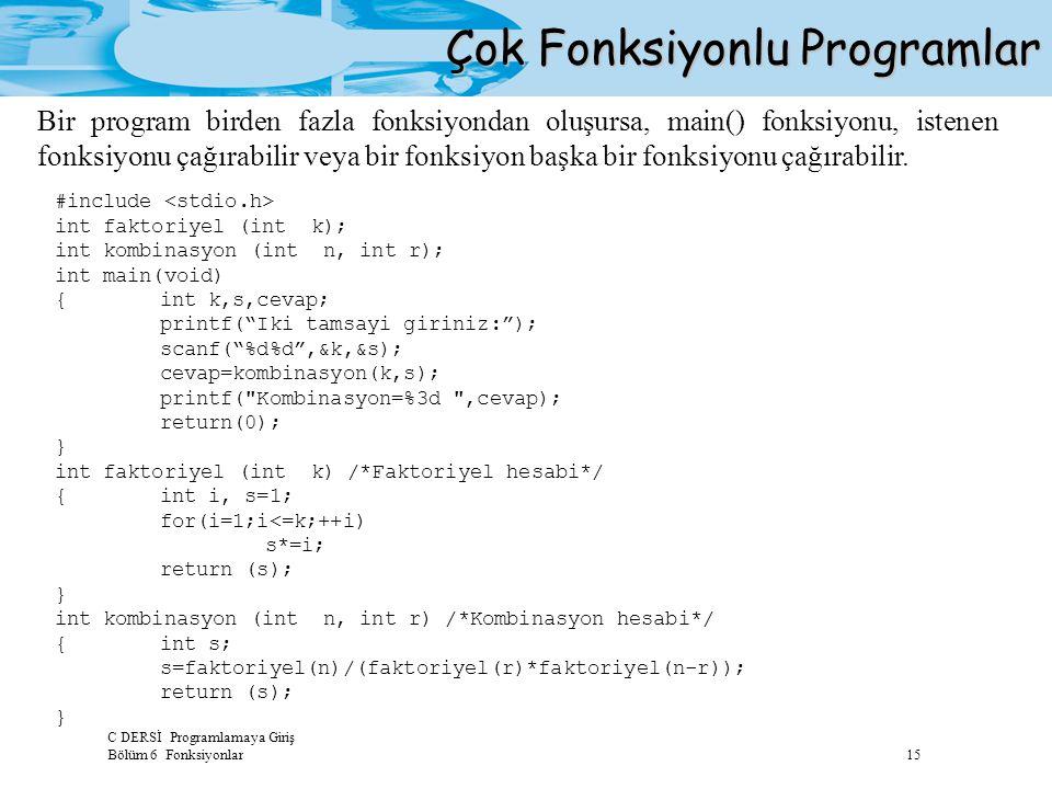 C DERSİ Programlamaya Giriş Bölüm 6 Fonksiyonlar 15 Çok Fonksiyonlu Programlar Bir program birden fazla fonksiyondan oluşursa, main() fonksiyonu, iste