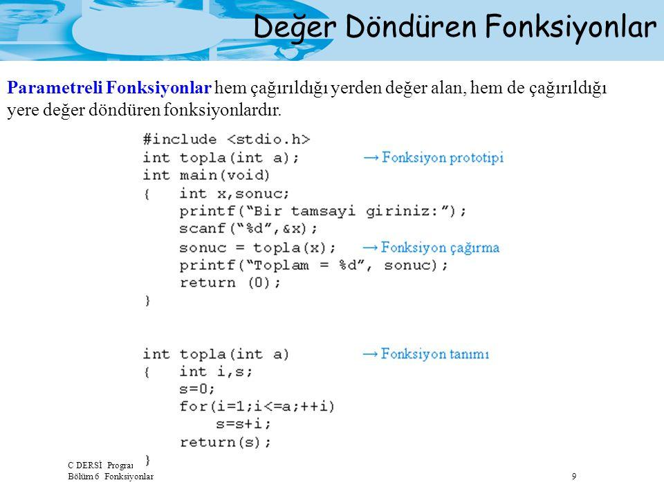 C DERSİ Programlamaya Giriş Bölüm 6 Fonksiyonlar 9 Değer Döndüren Fonksiyonlar Parametreli Fonksiyonlar hem çağırıldığı yerden değer alan, hem de çağı