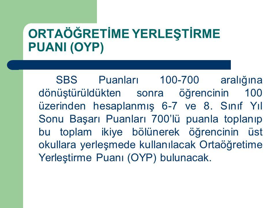 ORTAÖĞRETİME YERLEŞTİRME PUANI (OYP) SBS Puanları 100-700 aralığına dönüştürüldükten sonra öğrencinin 100 üzerinden hesaplanmış 6-7 ve 8.