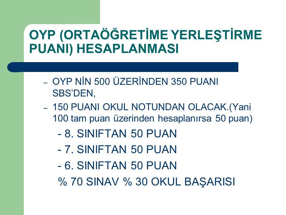 OYP (ORTAÖĞRETİME YERLEŞTİRME PUANI) HESAPLANMASI – OYP NİN 500 ÜZERİNDEN 350 PUANI SBS'DEN, – 150 PUANI OKUL NOTUNDAN OLACAK.(Yani 100 tam puan üzerinden hesaplanırsa 50 puan) - 8.