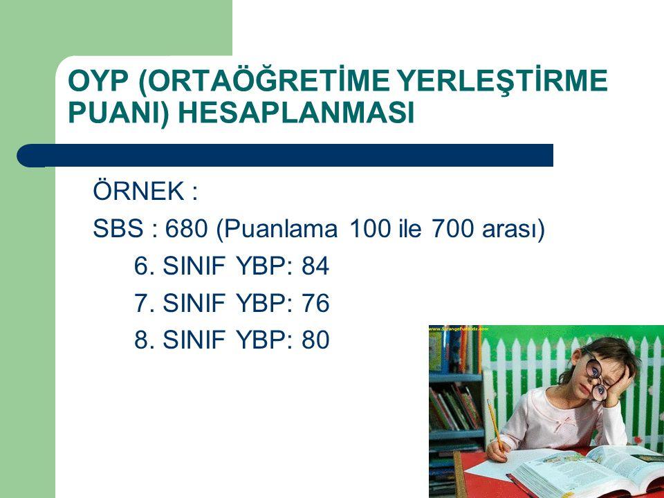 OYP (ORTAÖĞRETİME YERLEŞTİRME PUANI) HESAPLANMASI ÖRNEK : SBS : 680 (Puanlama 100 ile 700 arası) 6.