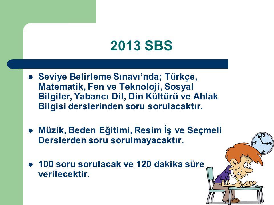 2013 SBS Seviye Belirleme Sınavı'nda; Türkçe, Matematik, Fen ve Teknoloji, Sosyal Bilgiler, Yabancı Dil, Din Kültürü ve Ahlak Bilgisi derslerinden soru sorulacaktır.
