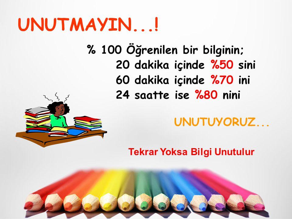 UNUTMAYIN...! % 100 Öğrenilen bir bilginin; 20 dakika içinde %50 sini 60 dakika içinde %70 ini 24 saatte ise %80 nini UNUTUYORUZ... Tekrar Yoksa Bilgi