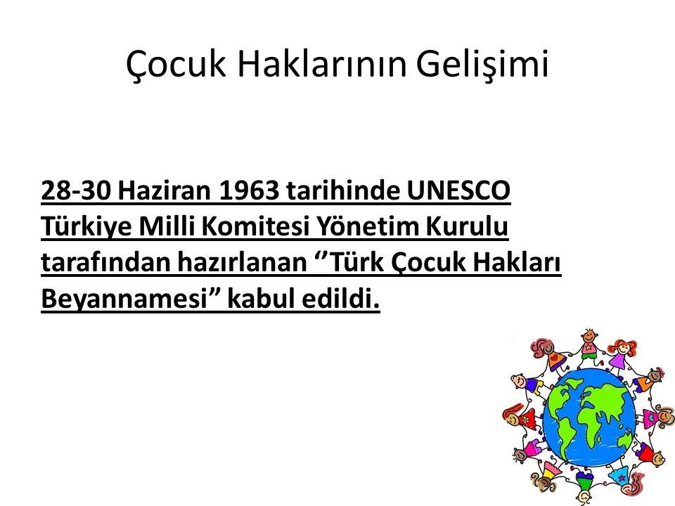 Çocuk Haklarının Gelişimi 28-30 Haziran 1963 tarihinde UNESCO Türkiye Milli Komitesi Yönetim Kurulu tarafından hazırlanan ''Türk Çocuk Hakları Beyanna
