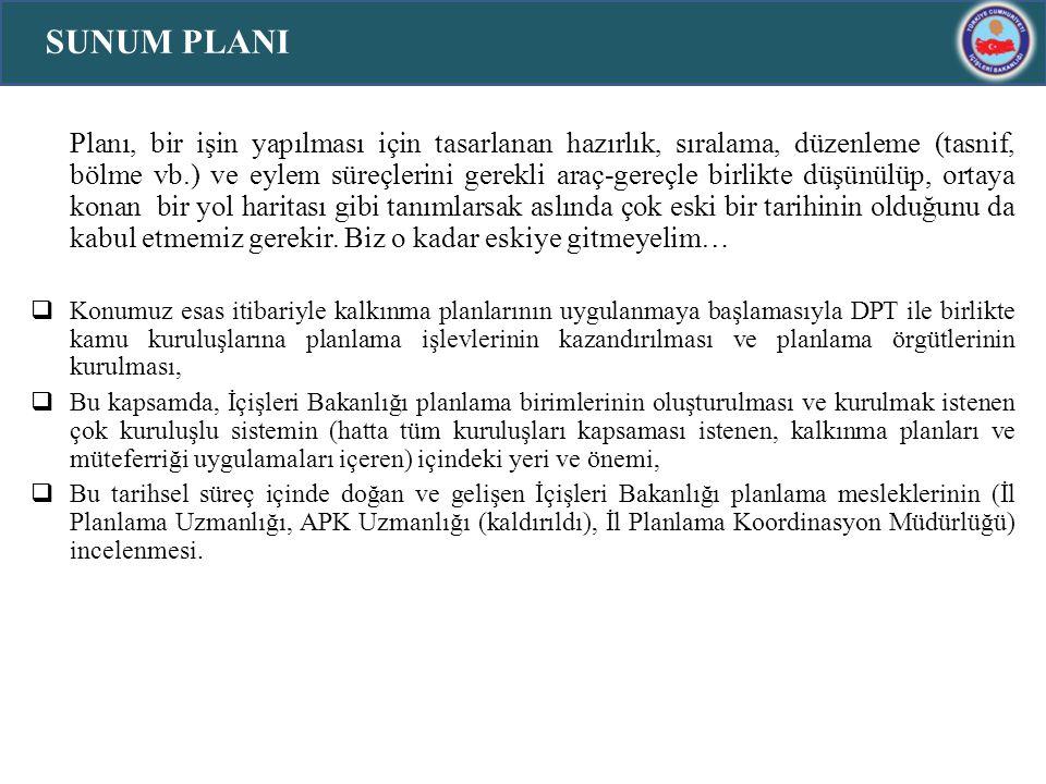 Planlama olgusunun Türk Kamu Yönetiminde filizlenmesi eskiye dayanır, ekonomik planlama sınırlı da olsa uygulanmıştır.
