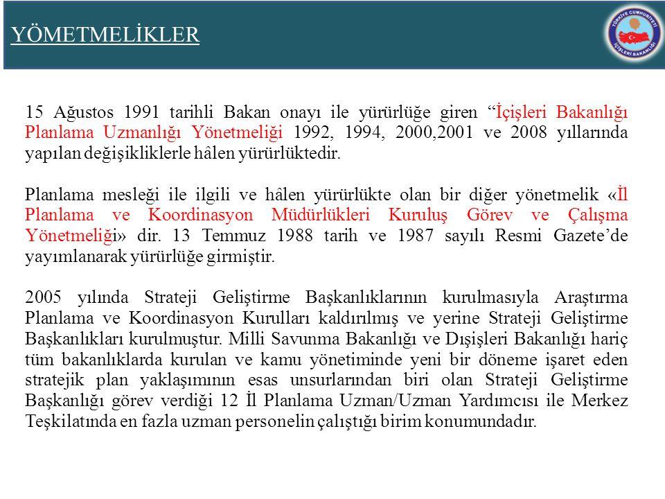 """YÖMETMELİKLER 15 Ağustos 1991 tarihli Bakan onayı ile yürürlüğe giren """"İçişleri Bakanlığı Planlama Uzmanlığı Yönetmeliği 1992, 1994, 2000,2001 ve 2008"""