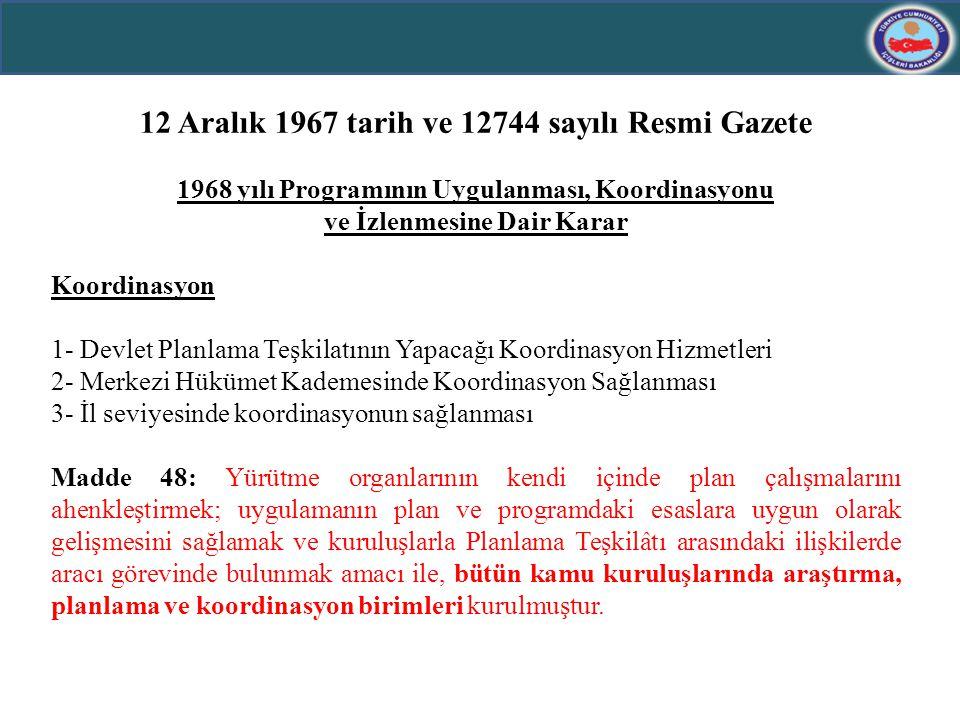 12 Aralık 1967 tarih ve 12744 sayılı Resmi Gazete 1968 yılı Programının Uygulanması, Koordinasyonu ve İzlenmesine Dair Karar Koordinasyon 1- Devlet Pl