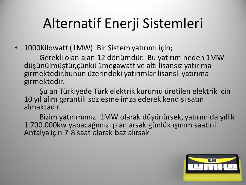 Alternatif Enerji Sistemleri 1000Kilowatt (1MW) Bir Sistem yatırımı için; Gerekli olan alan 12 dönümdür.