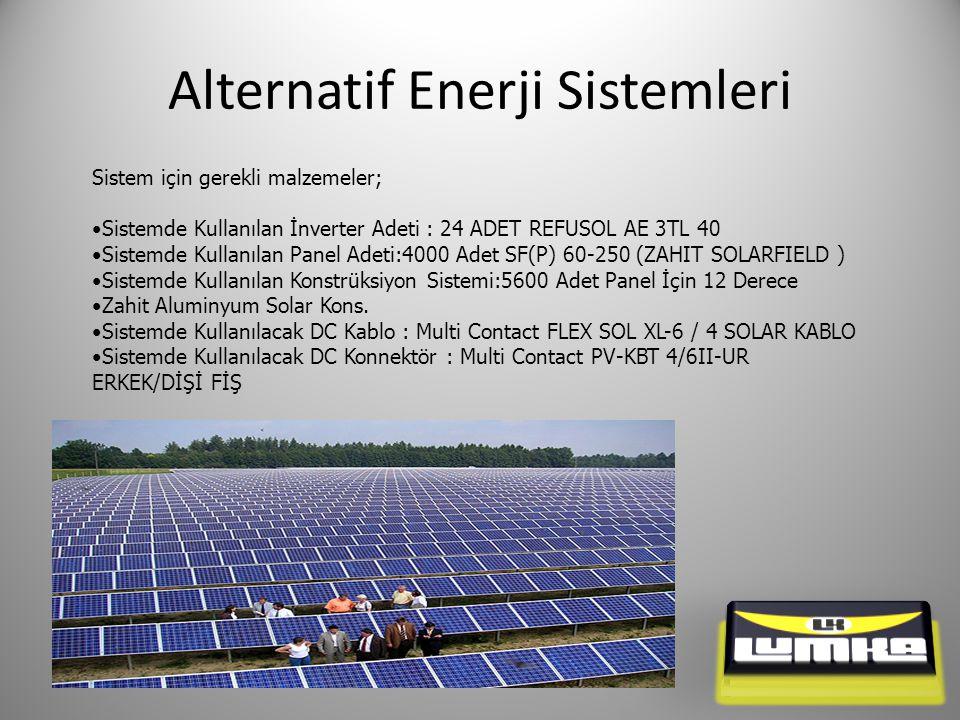 Alternatif Enerji Sistemleri Sistem için gerekli malzemeler; Sistemde Kullanılan İnverter Adeti : 24 ADET REFUSOL AE 3TL 40 Sistemde Kullanılan Panel Adeti:4000 Adet SF(P) 60-250 (ZAHIT SOLARFIELD ) Sistemde Kullanılan Konstrüksiyon Sistemi:5600 Adet Panel İçin 12 Derece Zahit Aluminyum Solar Kons.